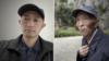 武汉新冠肺炎难属张海(左),去年2月感染新冠病毒去世的父亲张立发