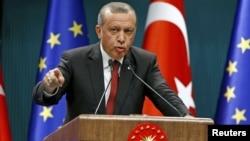 Turkey's President Tayyip Erdogan speaks during a news conference in Ankara, Turkey, Sept. 9, 2015.