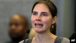 """Amanda Knox ha declarado que además de """"doloroso"""" el fallo que anula su absolución es """"infundado e injusto""""."""