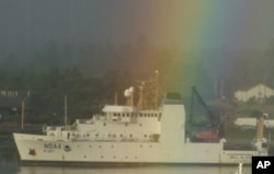NOAA's newest vessel, the extra-quiet Bell M. Shimada, during a port call in Newport, Oregon.
