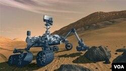 Sketsa gambar dengan komputer, MSL Rover NASA yang bernama 'Curiosity' yang direncanakan akan mendarat di kawah Gale, planet Mars.