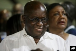 Ghana President elect Nana Akufo-Addo, of the New Patriotic Party, smiles on being declared the winner of the presidential election in Accra, Ghana, Dec. 9, 2016.