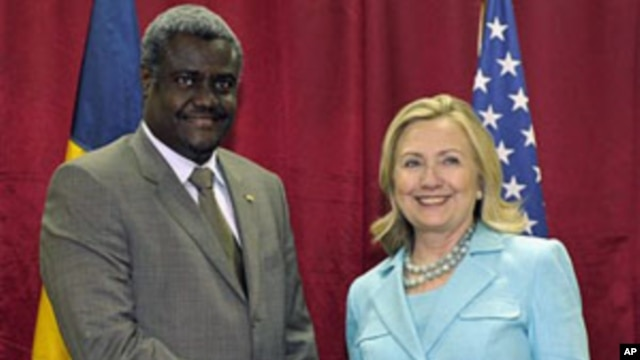 Secretary of State Hillary Rodham Clinton meets with Chad's Foreign Minister Moussa Faki at the Mulungushi International Conference Center in Lusaka, Zambia, June 10, 2011