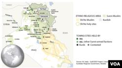 په عراق کې د قره قوش او تل کیف سیمو نقشه