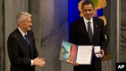 Obama with his Nobel prize