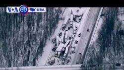 40 chiếc xe gặp tai nạn do bão tuyết