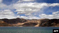 This photo taken on Sept. 14, 2018, shows a general view of the Pangong Lake in Leh district of Union territory of Ladakh bordering India and China.
