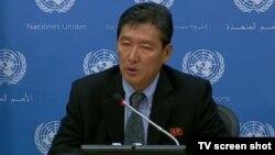 유엔주재 북한대표부 리동일 차석대사가 25일 기자회견을 열고, 유엔 안보리에 미-한 합동군사훈련 문제를 의제로 채택해 줄 것을 다시 공식 요청했다고 밝히고 있다.