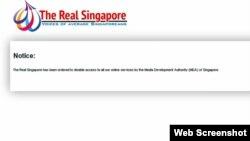 """""""真正新加坡""""新闻网站公告其网站已被新加坡媒体发展管理局关闭(2015年5月5日)"""