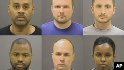 Baltimore police officers charged in Freddie Gray's death, top row from left, Caesar Goodson Jr., Garrett Miller and Edward Nero, and bottom row from left, William Porter, Brian Rice and Alicia White.