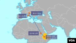被劫持的埃塞俄比亚航空公司飞机路线