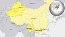 China cities Urumqi, Guangzhou and Kunming