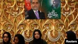 Afg'onistonda prezidentlikka nomzod Abdulla Abdulla Kobulda saylov dasturi haqida so'zlamoqda, 2-fevral, 2014-yil.