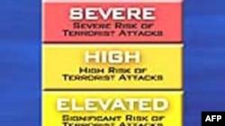 Hệ thống này có 5 cấp độ: màu xanh lục: thấp, xanh da trời: cảnh giác, vàng: nguy cao hơn, màu cam: nguy cơ cao và màu đỏ: nghiêm trọng.