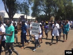 Striking doctors protesting in the capital, Harare, October 7, 2019