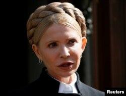 Ukrainian opposition leader Yulia Tymoshenko speaks during a press conference in Lviv, Ukraine, Sept. 11, 2017.