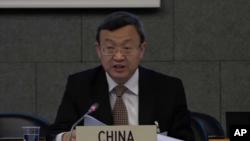 中国商务部副部长王受文2018年7月11日在世贸组织会上发言(美联社)