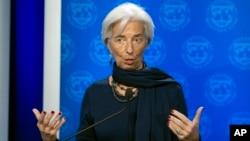 រូបឯកសារ៖ ប្រធានមូលនិធិរូបិយវត្ថុអន្តរជាតិ លោកស្រី Christine Lagarde កាលពីចុងឆ្នាំ២០១៦ នៅរដ្ឋធានីវ៉ាស៊ីនតោន។