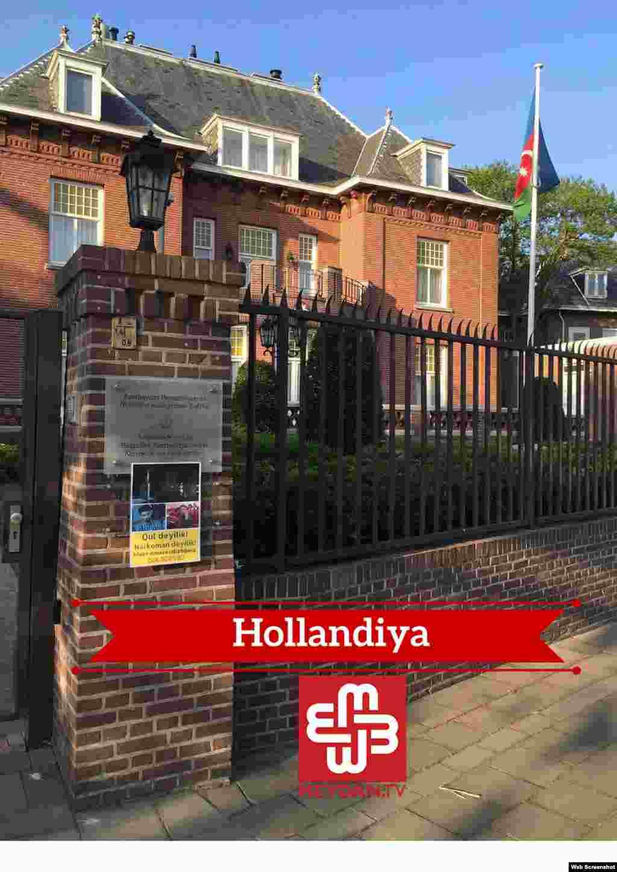 Azərbaycanın Hollandiyadaakı səfirliyində plakat (Foto meydan.tv-dir)
