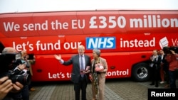 Former London Mayor Boris Johnson speaks at the launch of the Vote Leave bus campaign in Truro, May 11, 2016, in favor of Britain leaving the European Union.