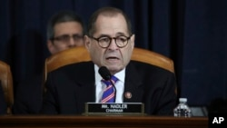 House Judiciary Committee Chairman Rep. Jerrold Nadler, D-N.Y., talks during a hearing before the House Judiciary Committee on the constitutional grounds for the impeachment of President Donald Trump, on Capitol Hill in Washington, Dec. 4.