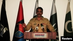 Maj. Gen. Asif Ghafoor, director general of Inter Services Public Relations, holds a news conference in Rawalpindi, Pakistan, April 17, 2017.
