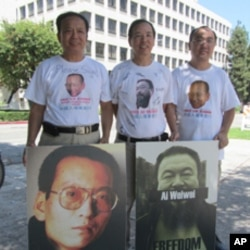 中國人權鐵馬萬里行的後勤支援右起鄭存柱、汪岷、韓武