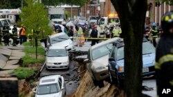 Derrumbe en el barrio Charles Village de Baltimore, provocado por las lluvias del miércoles.