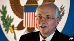 "FILE - Donald Booth, U.S. special envoy to Sudan and South Sudan, says the sanctions changes are aimed at helping Sudanese citizens ""integrate in the global digital community."""