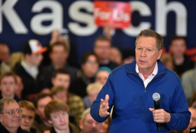 FILE - Republican presidential candidate, Ohio Gov. John Kasich speaks at a rally in Traverse City, Mich., March 5, 2016.