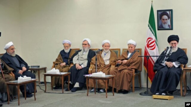 Iran's Supreme Leader Ayatollah Ali Khamenei (R) meets with members of the Assembly of Experts in Tehran, Iran, March 8, 2012.
