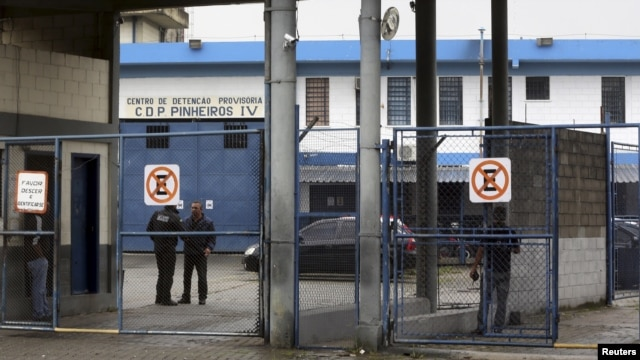A photo shows a view of the entrance of the Provisional Detention Center Pinheiros (CDP Pinheiros) in Sao Paulo, Brazil, March 1, 2016. According to local media, Facebook vice-president Diego Dzodan was held at CDP Pinheiros.