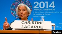 International Monetary Fund Managing Director Christine Lagarde speaks during a news conference at the IMF-World Bank annual meetings in Washington, Oct. 9, 2014.
