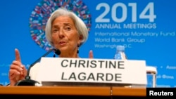 FILE: International Monetary Fund Managing Director Christine Lagarde speaks during a news conference at the IMF-World Bank annual meetings in Washington, Oct. 9, 2014.
