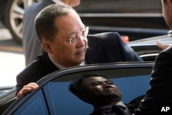 "FILE - North Korean Foreign Minister Ri Yong Ho gets into a car at Beijing Capital International Airport in Beijing, Sept. 19, 2017. In New York the next day, Ri described as ""the sound of a dog barking"" U.S President Donald Trump's threat to destroy his"