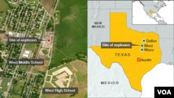 Wilayah kota kecil West di Texas, lokasi terjadinya ledakan pabrik pupuk, Rabu malam (17/4). (Foto: peta wilayah West, Texas).