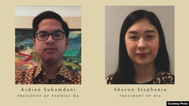 """Presiden Berklee Indonesian Community, Sharon Stephania (kanan) dan Ketua Permias Massachusetts, Ardian Sukamdani memberi sambutan di acara Konser Untuk Indonesia""."