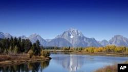 Taman Nasional Grand Teton di negara bagian Wyoming, AS.