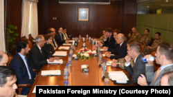 US Special Representative Zalmay Khalilzad attends high-level talks at the Foreign Ministry in Islamabad, Oct. 09, 2018.