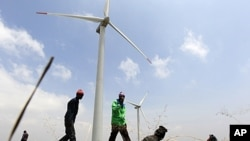Wind turbines at Kenya Electricity Generating Company, Ngong hills, Sept. 2010 (file photo).