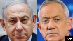 FILE - This combination of file pictures shows Israeli Prime Minister Benjamin Netanyahu at his office in Jerusalem, Dec. 9, 2018, and retired Israeli general Benny Gantz at a press conference in Tel Aviv, April 1, 2019.