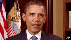 奥巴马总统2012年12月29日星期六发表每周例行讲话的资料照片
