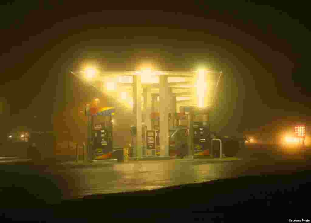 A gas station with excessive, unshielded lights. (Pete Strasser, International Dark Sky Association)