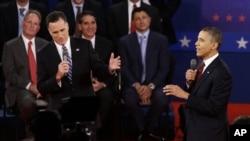 第二場總統辯論上奧巴馬與羅姆尼交鋒