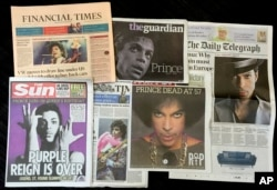 Newspapers leadings with the death of Prince are displayed, April 22, 2016.