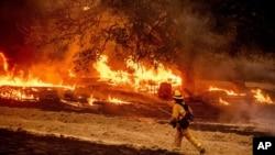 一名美国加州的消防队员查看山火火情。(2020年10月1日)