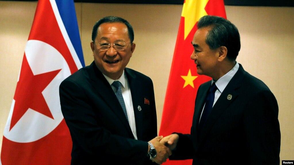 中朝外長2017年8月在馬尼拉會晤(路透社)