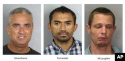 Los tres sospechosos detenidos por la policía: el alcalde Silverthorne, Juan José Fernández y Austin McLaughlin.