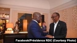 Le président de la RDC, Felix Tshisekedi (à gauche) et son homologue rwandais Paul Kagame à New York, le 23 septembre 2019 (Facebook / RDC Présidence)