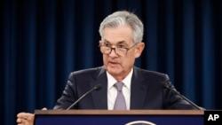 Kepala The Fed atau Bank Sentral Amerika, Jerome Powell memberikan penjelasan kepada media, di Washington DC Rabu (18/9).